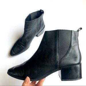 Zara Black Leather Chelsea Boots Size 40